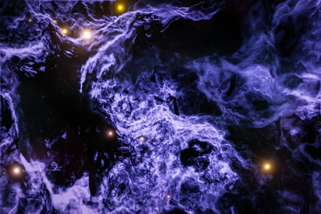 3d illustration of realistic purple cosmic sky with stars a raging sea with foam and huge waves