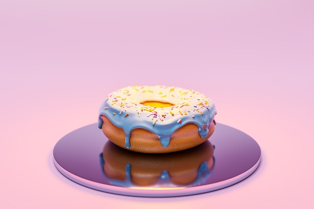 3d illustration of realistic white  appetizing donut  with sprinkles on plate on pink background.