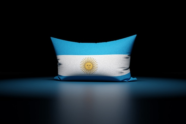 3d illustration of rectangular pillow depicting the national flag of argentina