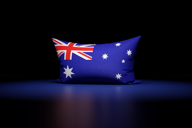 3d illustration of rectangular pillow depicting the national flag of australia