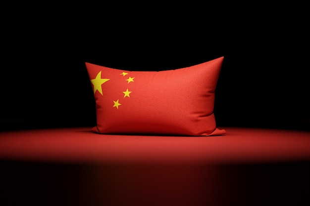 3d illustration of rectangular pillow depicting the national flag of china