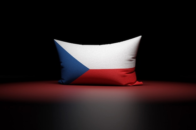 3d illustration of rectangular pillow depicting the national flag of czech