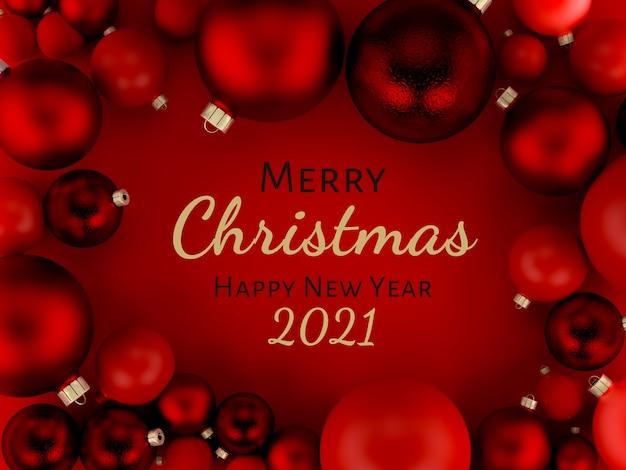 3 dイラストレーション、赤いクリスマスボール背景グリーティングカード、メリークリスマス、新年あけましておめでとうございます