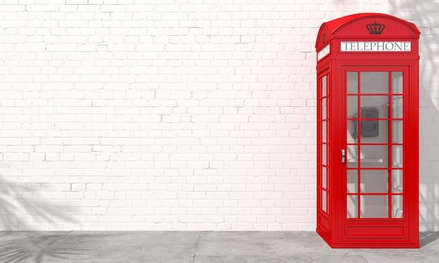 3d иллюстрации. красная английская телефонная будка на фоне кирпичной стены