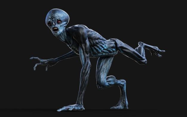 3d illustration of a red eyes alien on black.