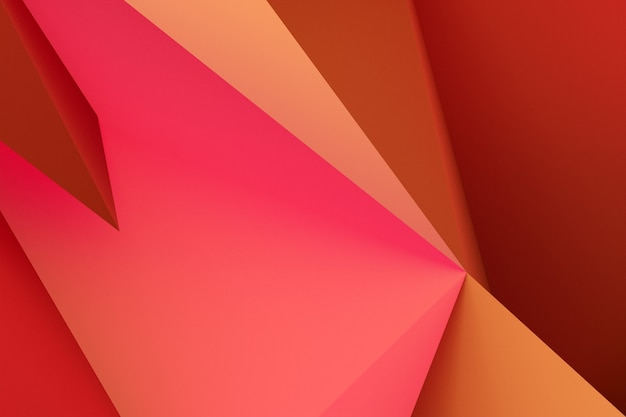 3d illustration  red and  orange corners.  geometric background, weave pattern.