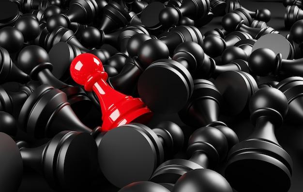 Иллюстрация 3d красная пешка шахмат. уникальная, уникальная, индивидуальная и выделяющаяся из толпы концепция.