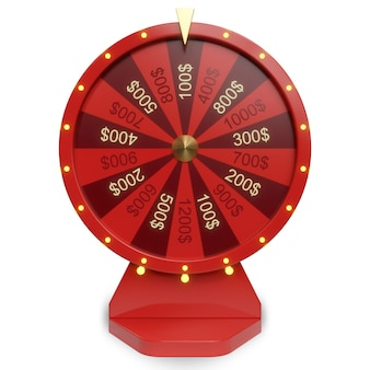 3d illustration red wheel of luck or fortune. realistic spinning fortune wheel. wheel fortune isolated on white background.