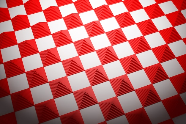 3d illustration red and white checkered geometric pattern of pyramids. unusual chessboard. decorative print, pattern. square volumetric print