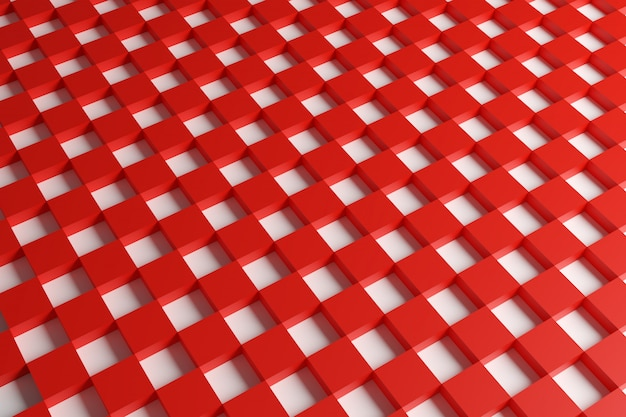 3d illustration red and white checkered geometric pattern of pyramids.