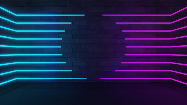 3dイラストのレンダリング。ブルーピンクのネオンライトストライプは、暗いレンガの壁の空白の円の形の中心に揃えられます。