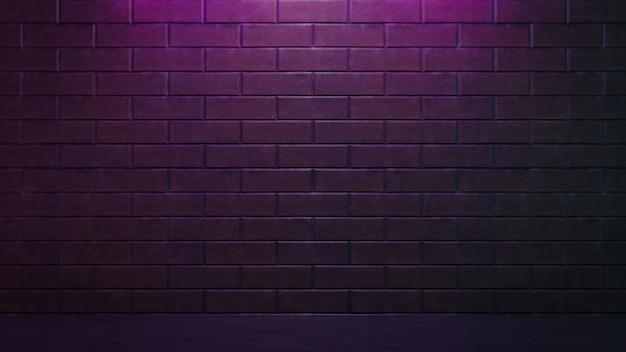 3d 그림 렌더링입니다. 분홍색 조명이 있는 벽돌 벽. 어두운 톤의 배경 이미지입니다.