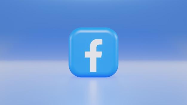 3d визуализация логотипа facebook на синем фоне градиентного цвета
