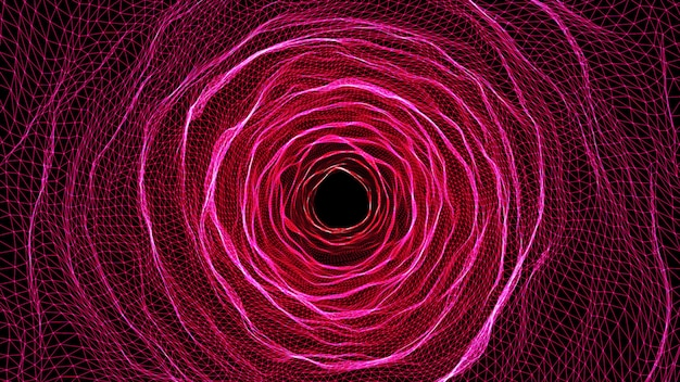 3d illustration rendering futuristic pink grid wire mesh tunnel.