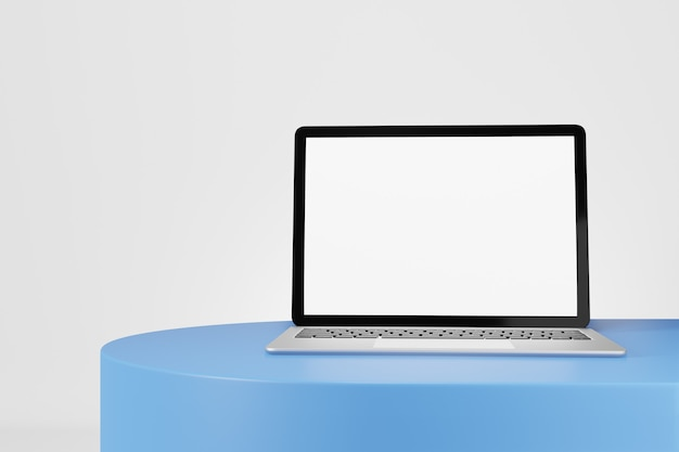 3d illustration rendering object. laptop computer silver and black color blank screen on blue desk white background.