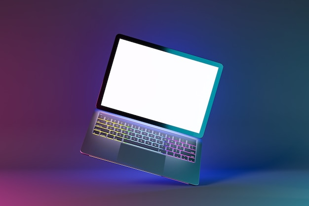 3d illustration rendering object. laptop computer silver and black color blank screen in blue pink light color background.