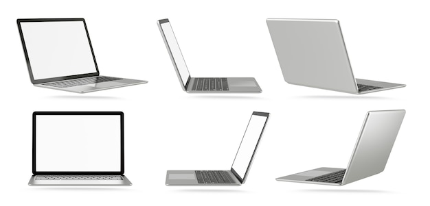 3d illustration rendering object. laptop computer silver and black color with blank screen isolated white background. clipping path image.
