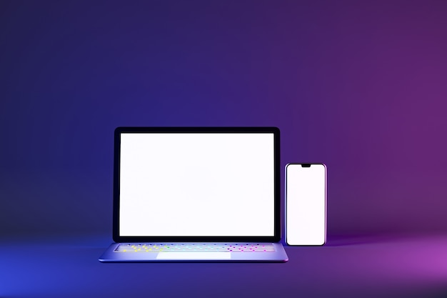 3d illustration rendering object. laptop computer silver and black color with smartphone mobile blank screen in blue pink light color background.