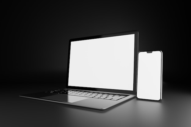 3d illustration rendering object. laptop computer silver and black color with smartphone mobile blank screen in dark theme