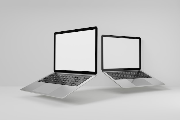 3d illustration rendering object. two laptop computer silver and black color blank screen.