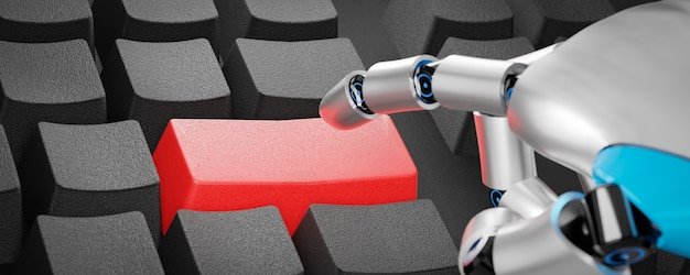 3d illustration rendering of robot finger hand press red button keyboard for technology operation.