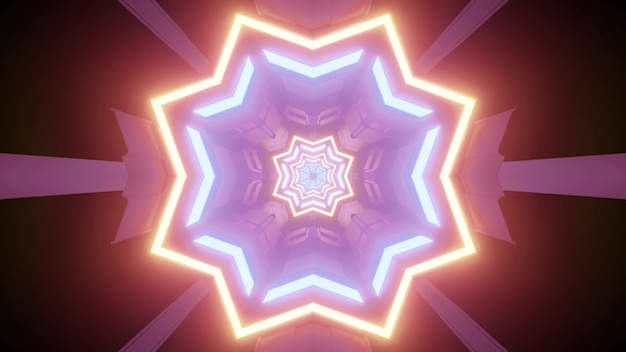 3d illustration of repetitive star shaped ornament of various sizes and neon colors creating optical illusion of endless futuristic tunnel