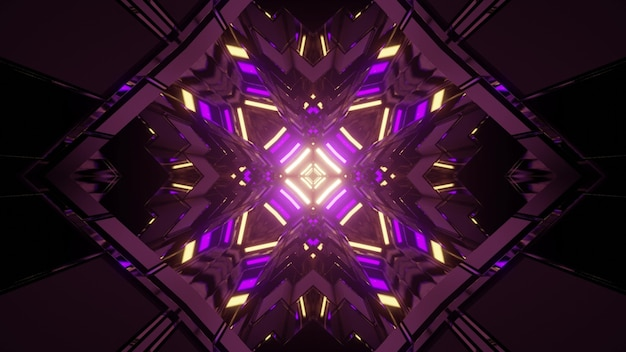 3d illustration of rhombus shaped pattern with symmetric neon illumination glowing in dark tunnel as abstract background Premium Photo
