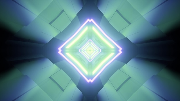 3d illustration of rhombus shaped tunnel with symmetric design and glowing neon lines in blue and green colors