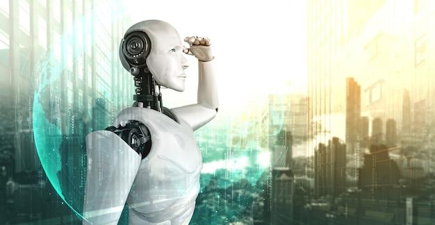 街並みのスカイラインを楽しみにして3dイラストロボットヒューマノイド