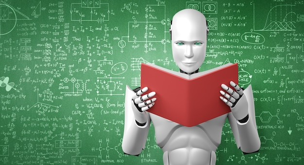 3d illustration of robot humanoid reading book and solving math