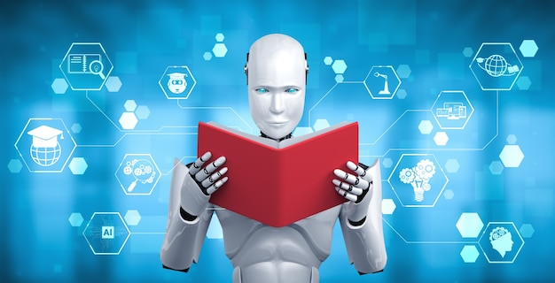 3d illustration of robot humanoid reading book