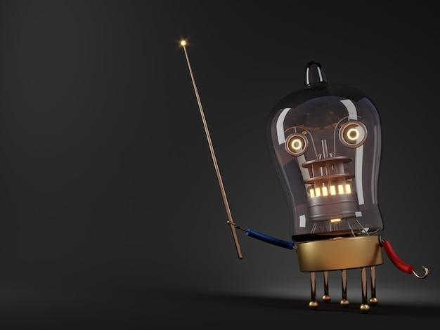 3dイラスト。ロボット教師チューブプロセッサの概念はユーモアをレンダリングします