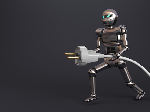3d illustration. robot with electric plug wire background clipart. postcard concept. electrical goods