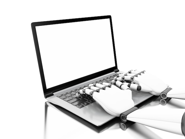 3d illustration. robotic hands typing on a laptop