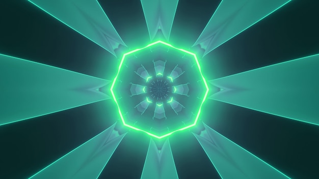 3d illustration of round shaped corridor with neon illumination