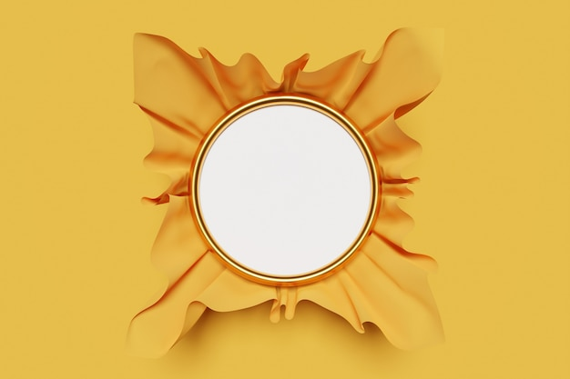 3d illustration of a round white frame mocap in volumetric beautiful yellow paper on a monochrome isolated background.