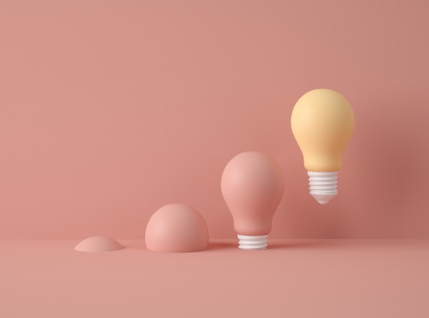 3d illustration. row of light bulbs with one of different colour.