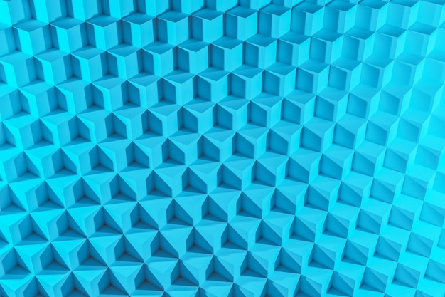 3d illustration of rows of blue cube. set of chewing gum on blue background. parallelogram pattern. technology geometry background
