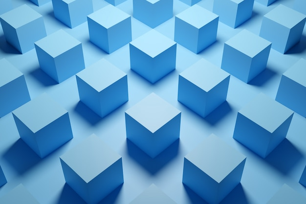 3d illustration of rows of blue cube.