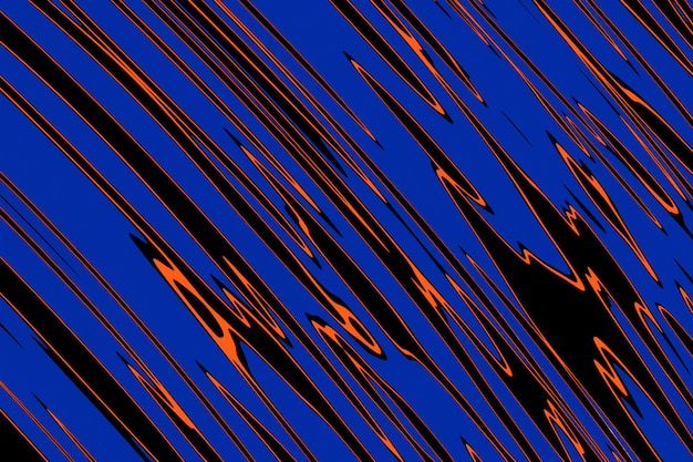 파란색, 검정색, 주황색 선의 3d 그림 행. 기하학적 배경, 패턴입니다.
