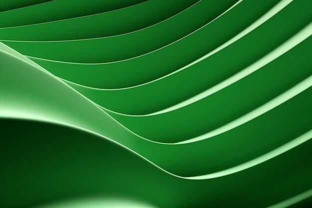 ネオンテキスタイルラインの3dイラスト行。緑の背景、パターンのパターン。幾何学的な背景、織りパターン。