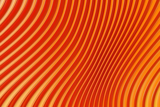 네온 섬유 라인의 3d 일러스트 행입니다. 오렌지 배경에 후 두둑 패턴.