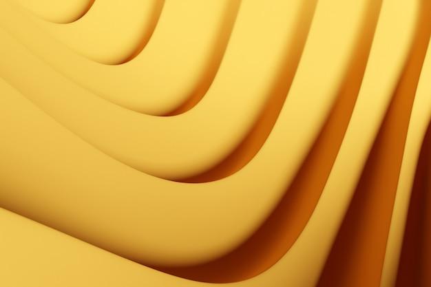 네온 섬유 라인의 3d 그림 행입니다. 노란색 배경, 패턴에 후 두둑. 기하학적 배경, 직조 패턴입니다.
