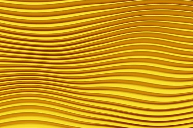 노란색 라인의 3d 그림 행. 기하학적 배경, 직조 패턴.