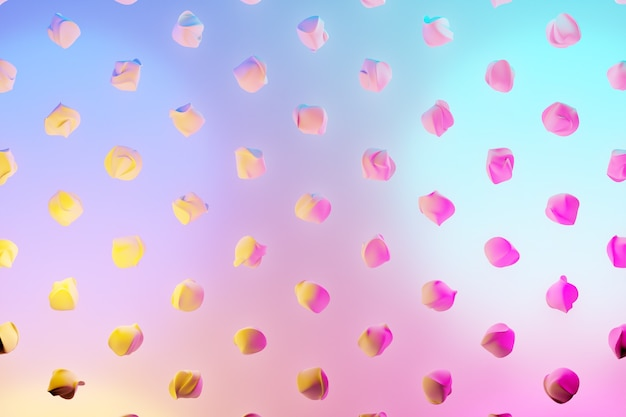 3d illustration of rows of  unusual flying figures under a blue-pink neon color .  shape pattern. technology geometry  background