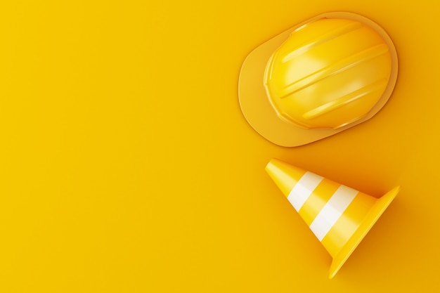 3d illustration. safety helmet and traffic cone on orange background.