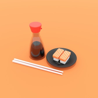3d illustration of salmon sushi and soy sauce bottle