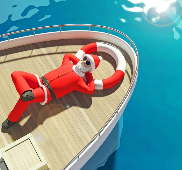 3d 그림입니다. 산타클로스는 많은 선물 상자를 들고 갑판에 누워 있는 요트에서 수영을 하고 있습니다. 주위에 바다 파도입니다.