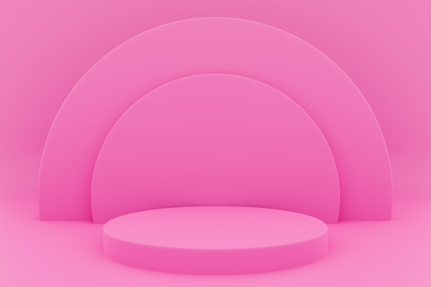 3d illustration of a scene from a circle with round arch at the back on a  pink background.