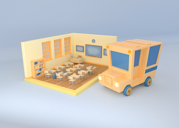 3d illustration. school bus and classroom on isolated background. back to school